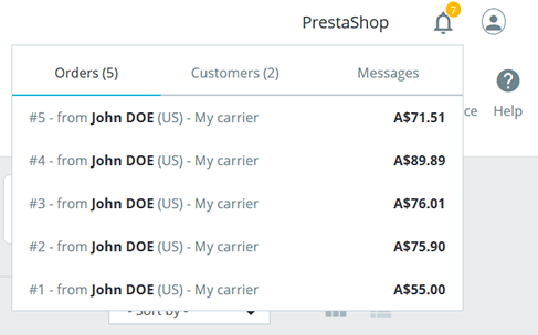 PrestaShop v1.7 Notifications