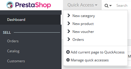 PrestaShop v1.7 Quick Access
